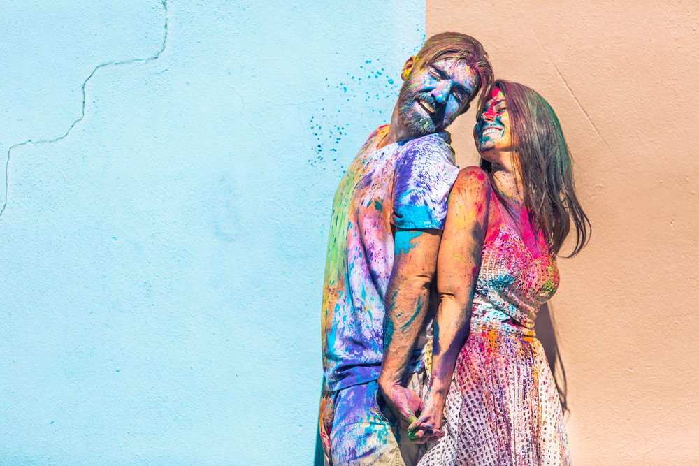 Holi powder is a fun idea for an engagement session!