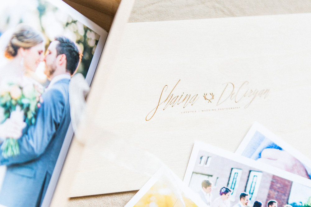 Redtree wedding album in fog lux leather with custom calligraphy embossing by Winter Park Farmer's Market wedding photographer Shaina DeCiryan