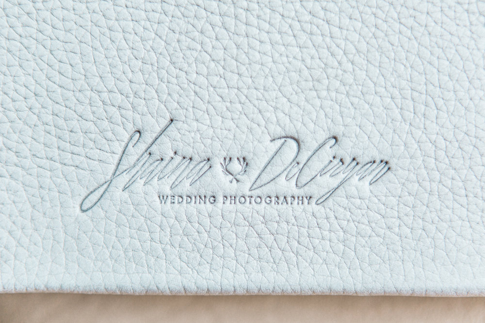 Fog Lux Leather wedding album designed by Winter Park Wedding photographer Shaina DeCiryan