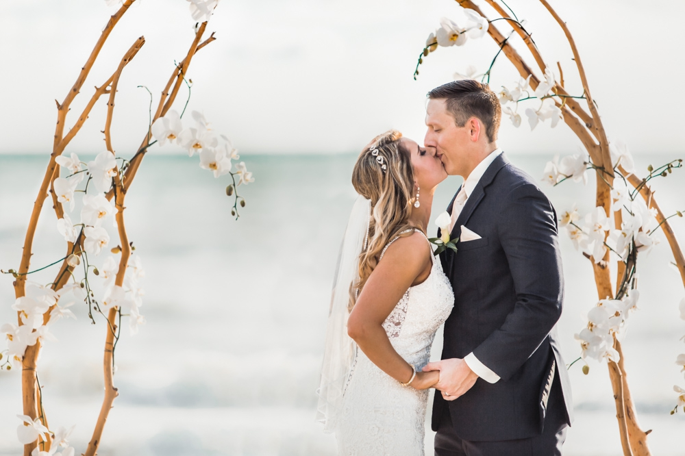 Longboat Key Beach wedding first kiss
