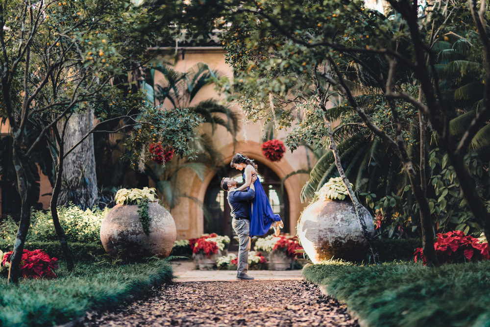 bok tower gardens pinewood estates christmas engagement photography