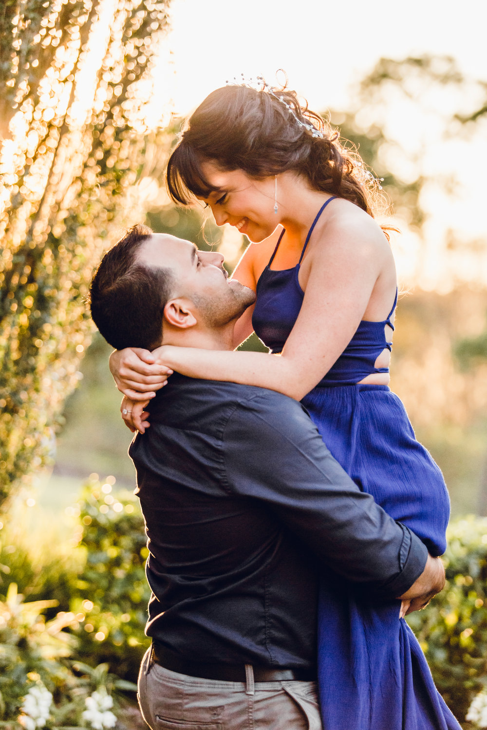 bok tower gardens romantic sunset engagement