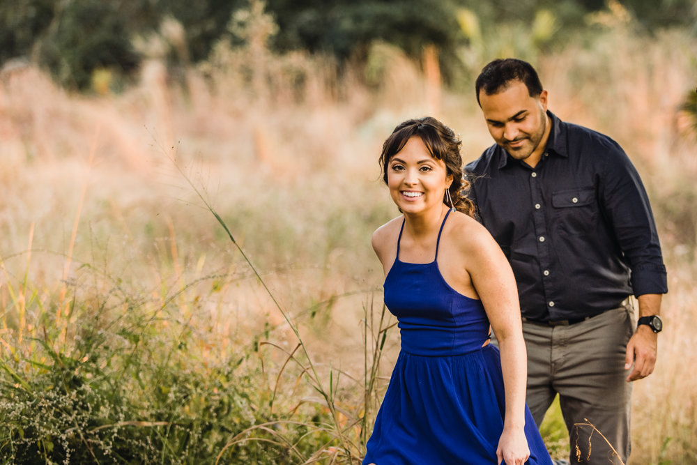 bok tower gardens field engagement couple photography