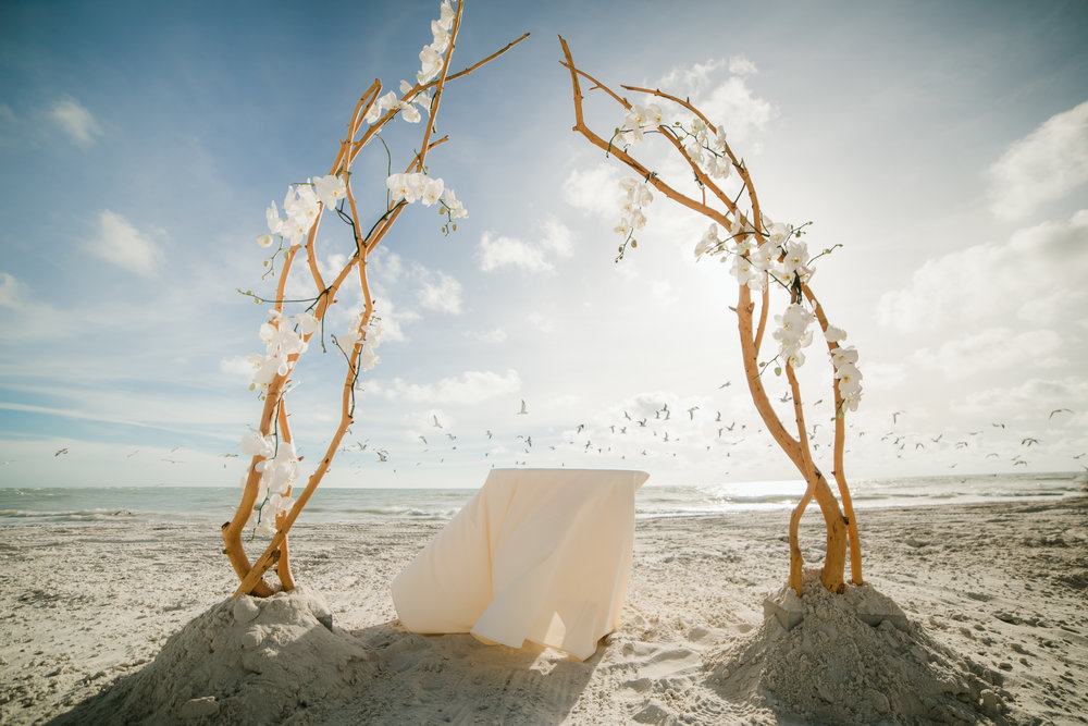Orchid & Willow archway by Victoria Blooms at Bobby + Brett's Longboat Key Club wedding on the beach.