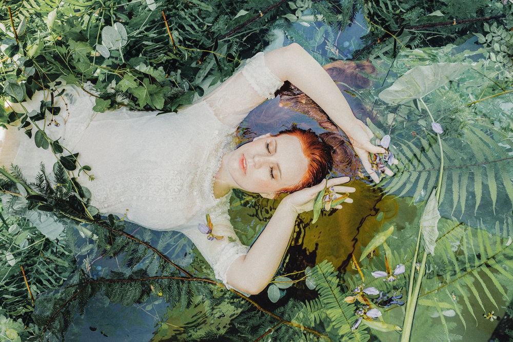 "Ophelia's Water Forest // A portrait series inspired by the story of Ophelia, the idea of rebirth, connecting with nature & water, and the poem ""Sleeping in the Forest"" by  Mary Oliver  // Photography + Creative direction: Shaina DeCiryan  @shainadeciryan  Photography 
