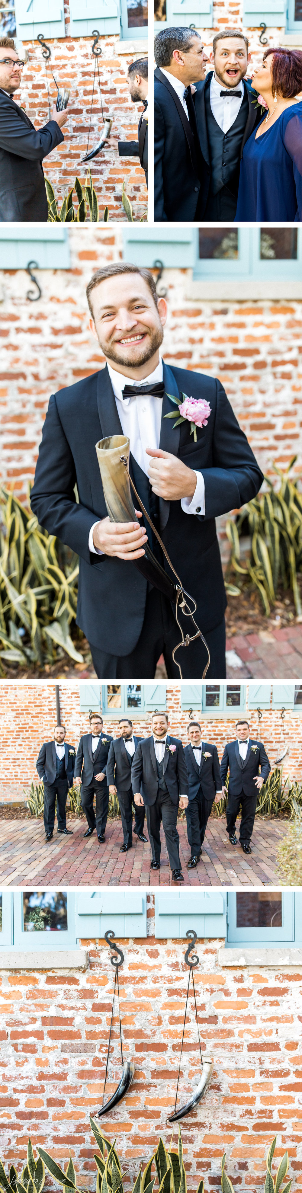 Groom + groomsmen black tie tuxedo with viking drinking horn groomsmen gifts