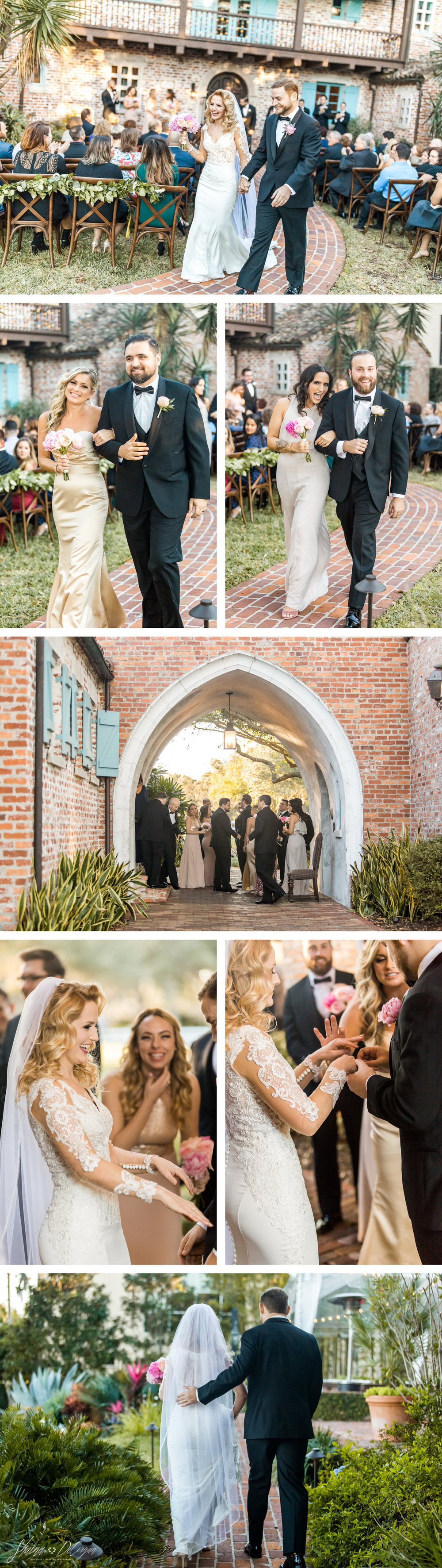 Retro Hollywood Glam Casa Feliz Wedding Ceremony Recessional