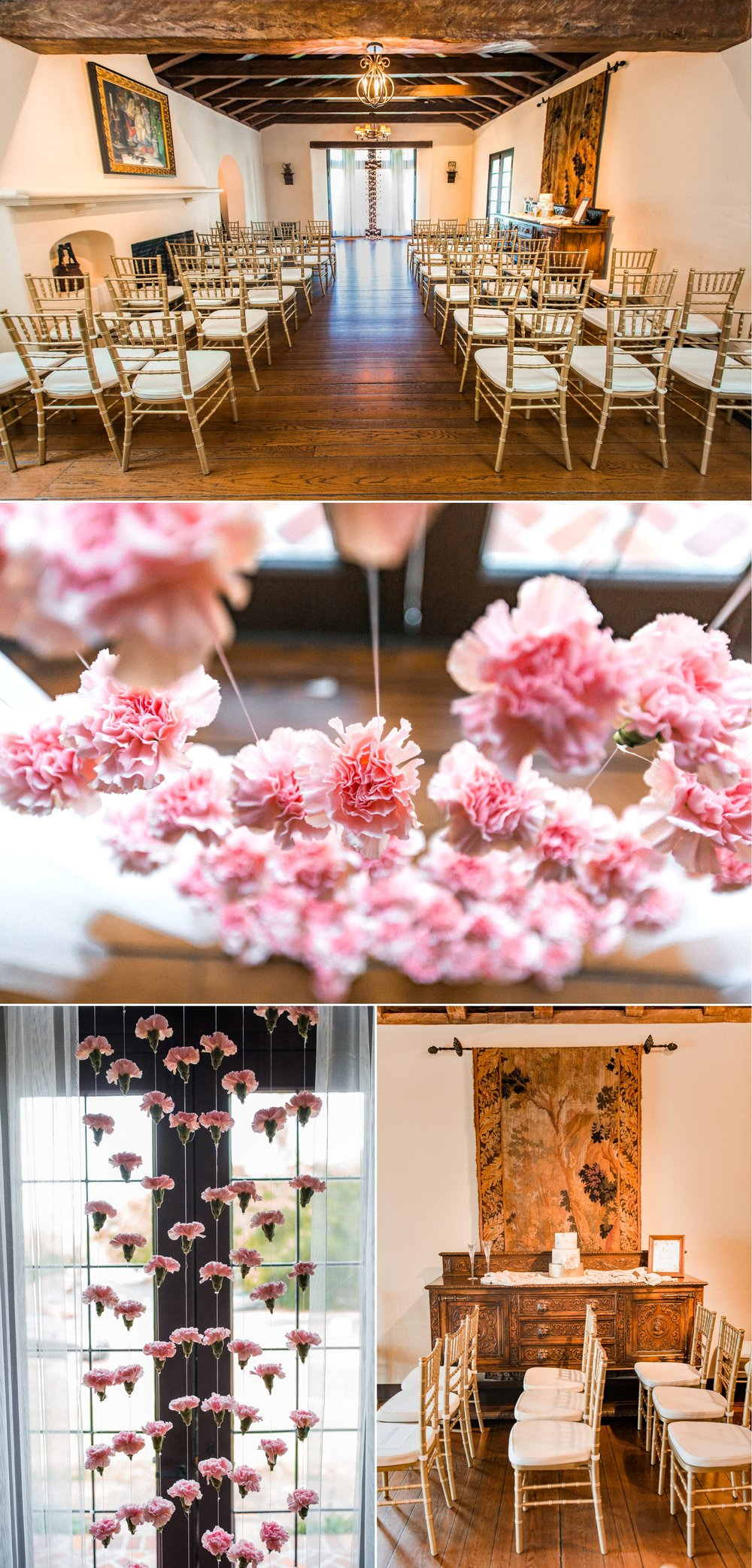 Casa Feliz indoor wedding ceremony with pink carnation floral garlands, gold chiavari chairs, wooden floors, and Spanish farmhouse historic architecture | Photography: Shaina DeCiryan