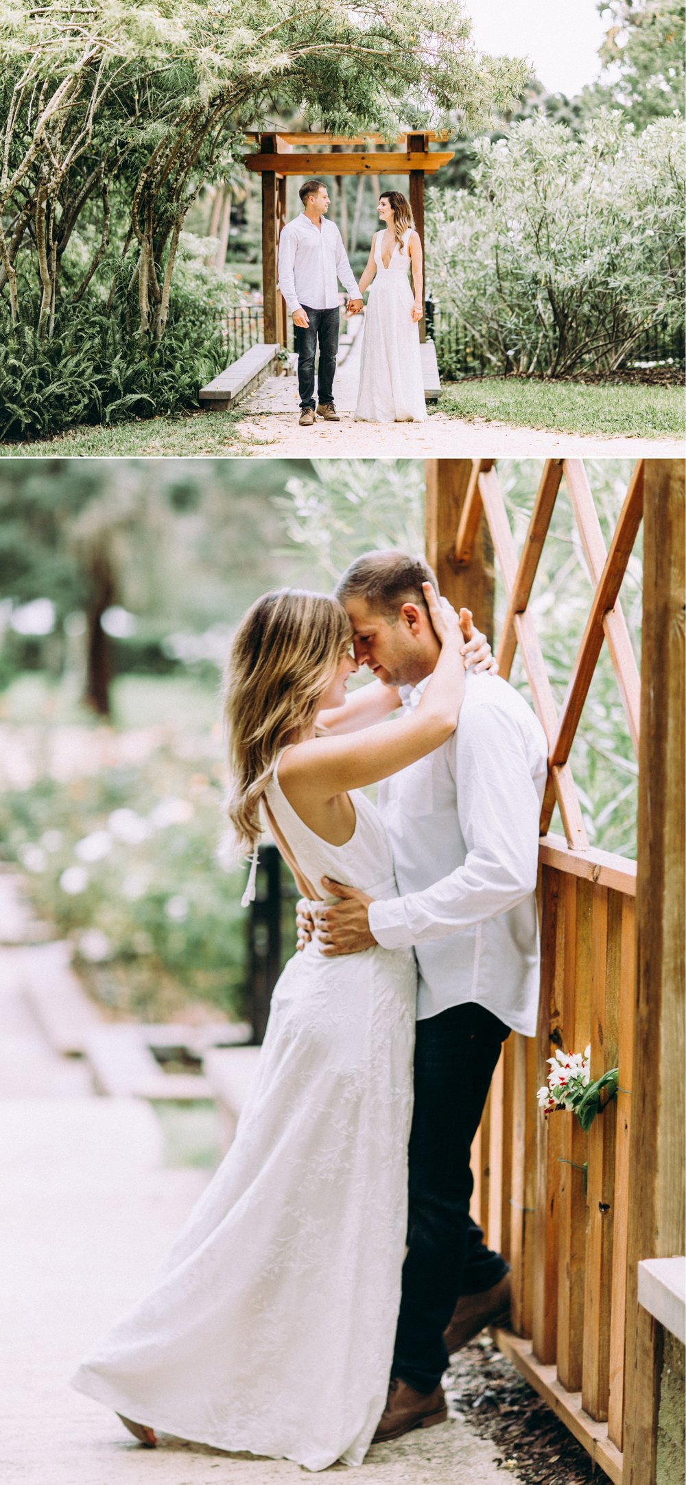 Bohemian Chic engagement photos in a wooden gazebo, styled with a white maxi dress, brown shoes, and neutral toned outfits at the Washington Oaks Garden State Park.