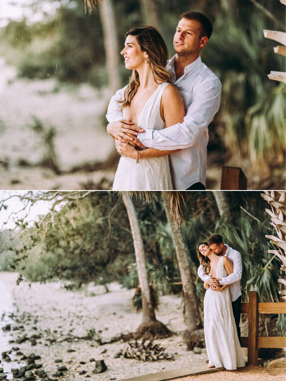 Rainy day Winter Park engagement photography with a bohemian chic vibe, styled with a white maxi dress, brown shoes, and neutral toned outfits at the Washington Oaks Garden State Park.