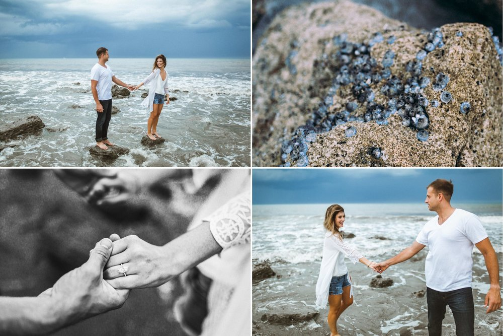 Dramatic storm skies beach boho styled engagement adventure