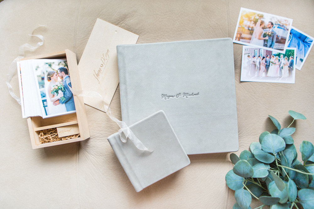 RedTree heirloom wedding albums smoke grey luxe leather mini album by Shaina DeCiryan3.jpg