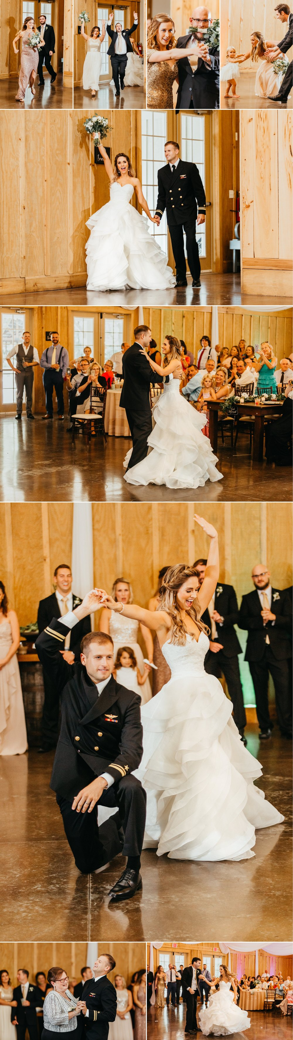 Bowing Oaks chic greenery farmhouse wedding reception bride and groom first dance