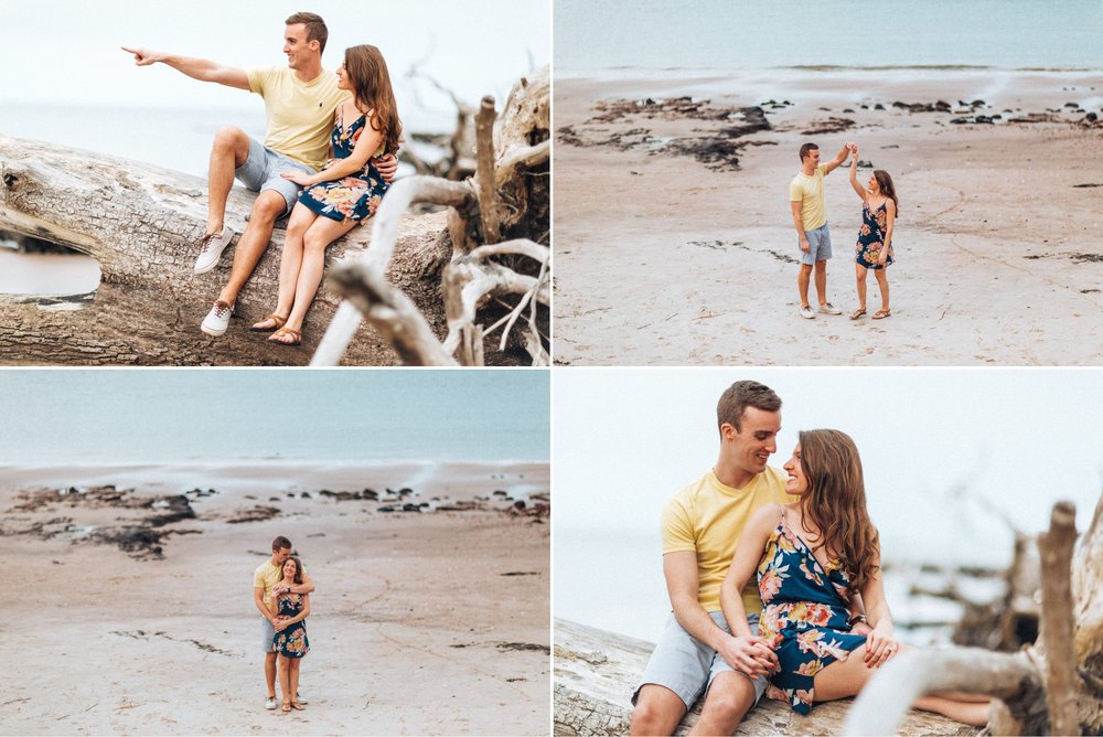 Alessi + Josh's romantic driftwood beach adventure engagement photo session at Big Talbot Island, Jacksonville, Florida // Engagement style inspiration: she wore a navy, yellow & coral floral jumper, he wore yellow tee, with gray linen shorts // Photographer by: Shaina DeCiryan Lifestyle + Wedding Photography @shainadeciryan