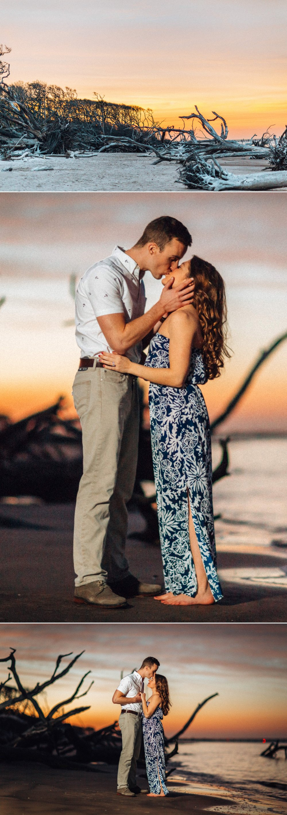 Alessi + Josh's romantic sunset engagement photo adventure on an amazing driftwood beach location at Big Talbot Island, Jacksonville, Florida // Engagement style inspiration: she wore a navy & white floral maxi dress, he wore white button-down, with khaki pants // Photographer by: Shaina DeCiryan Lifestyle + Wedding Photography @shainadeciryan