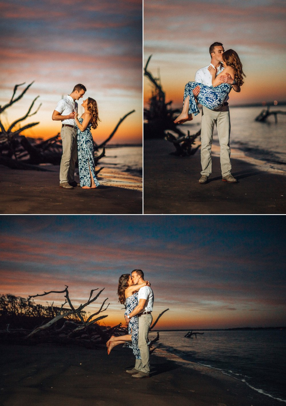 Alessi + Josh's romantic sunset engagement photo adventure on an amazing driftwood beach location at Big Talbot Island, Jacksonville, Florida // Engagement style inspiration: she wore a navy & white floral maxi dress, he wore white button-down, with khaki pants // Engagement ring: Pavé halo solitaire diamond with pavé band // Photographer by: Shaina DeCiryan Lifestyle + Wedding Photography @shainadeciryan