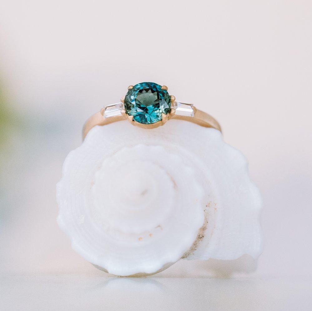 Mermaid sapphire engagement ring by Sofia Kaman