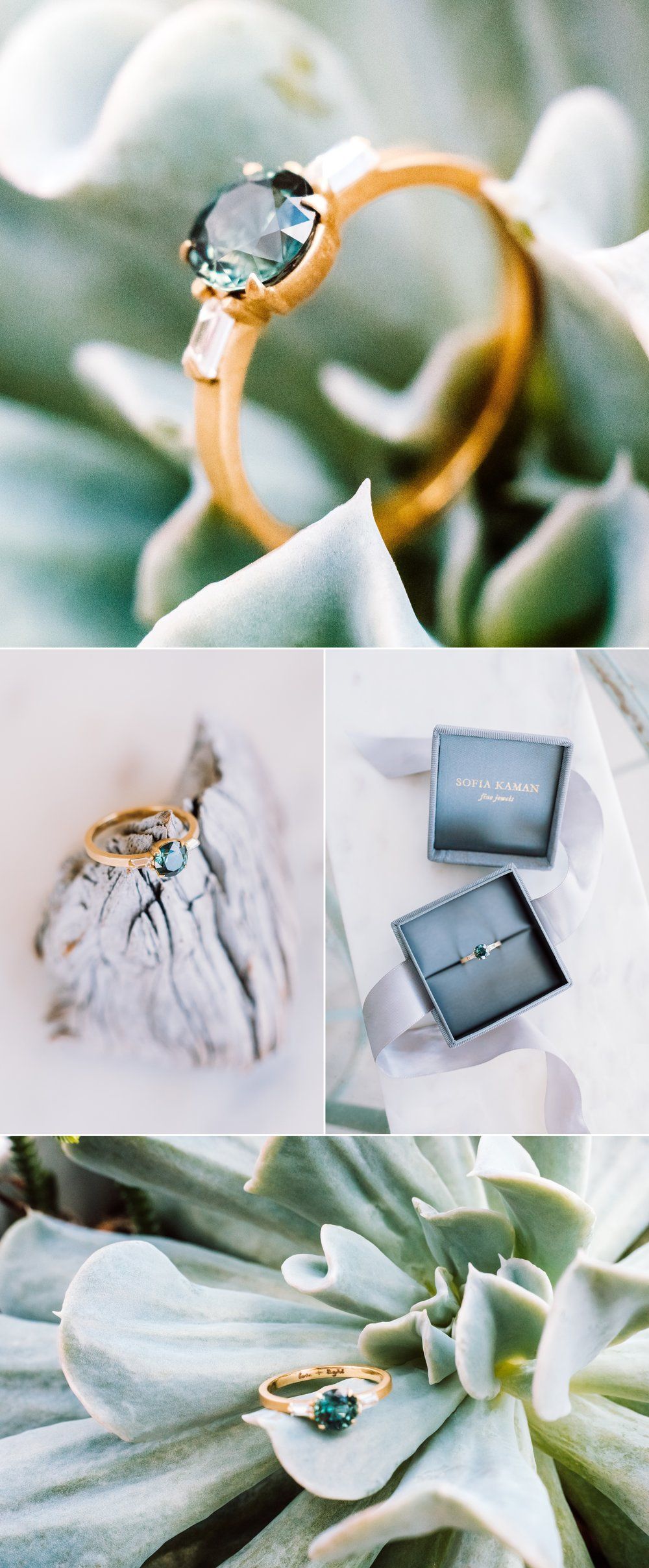 Sofia Kaman custom ring design- bi-color teal sapphire baguette diamond engagement ring matte band