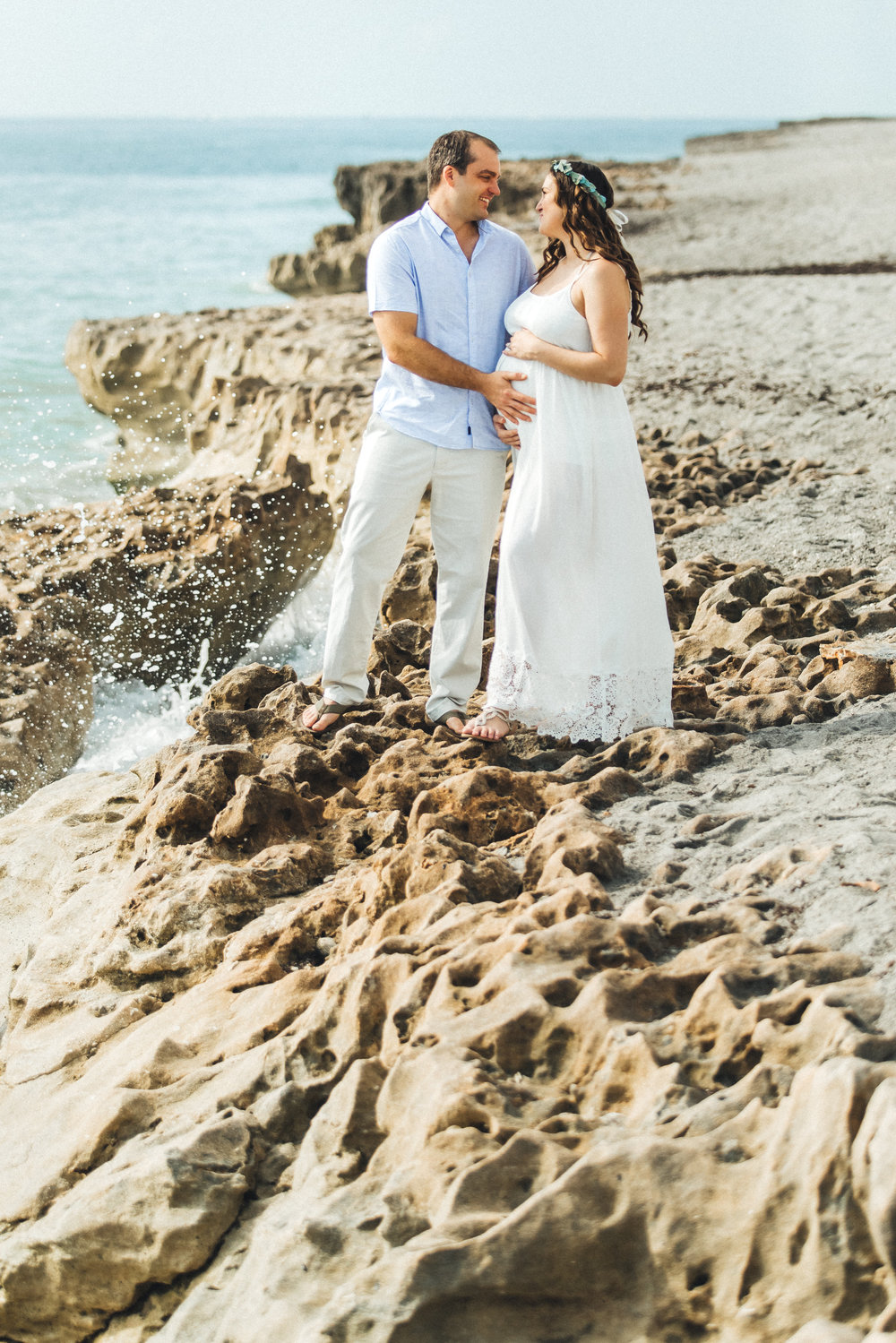 White Maternity Dress- Erica + Aaron's Blowing Rock Preserve- Florida Maternity Photos-14.jpg