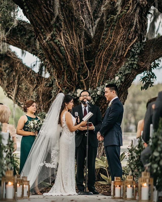 Here's to Adriana + Karlton growing from five years of love, thriving beyond 8 hr long-distance weekend drives, and now blossoming into the one and precious Mr. & Mrs. Kwan!  This day was filled with lush springtime flowers, deep emerald tones, the wisdom of ancient live oak trees, and joy inspired smiles all around! // Explore more Sneak peek looks into their flower filled day: https://www.shainadeciryan.com/…/emerald-gold-spring-floral… // WEDDING DETAILS Floral design: @orlandoflowermarket  Photography: @shainadeciryan  Wedding Location: @highlandmanor Catering: @dubsdreadcatering  DJ: @dj24seven