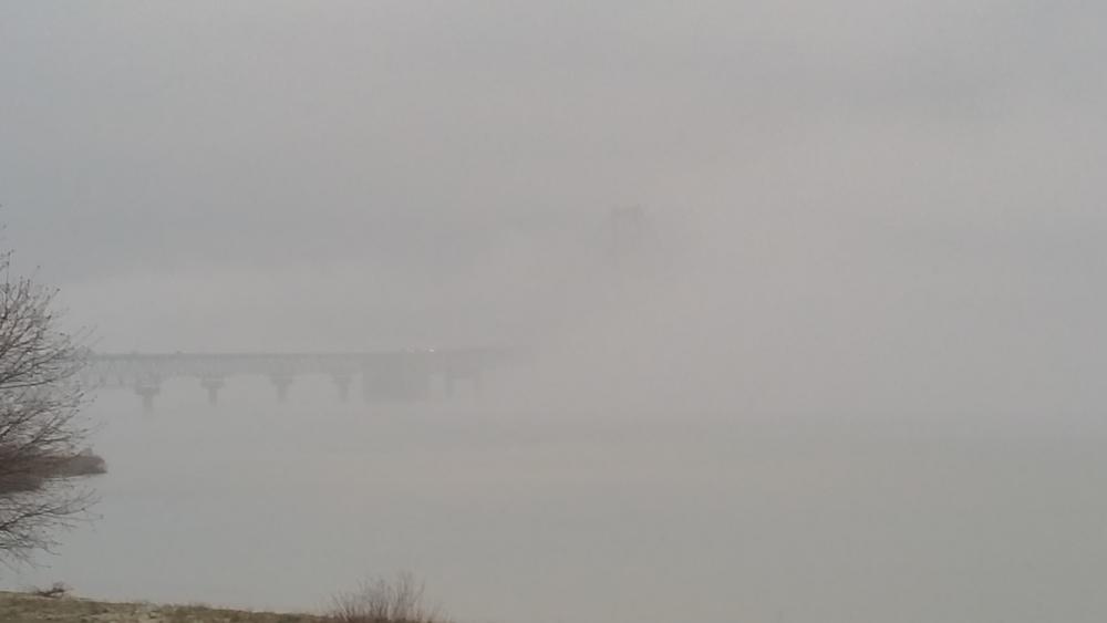 Foggy Mackinac Bridge