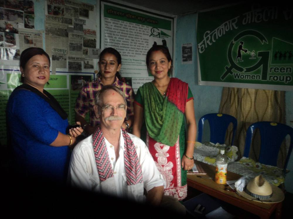 RMP member Jon Monson with Rina Ghimire, Narvka Khatri and Devi Bhattrai, members of the the Green City Women's Group (GCWG) at their local office in Ilam, Nepal.