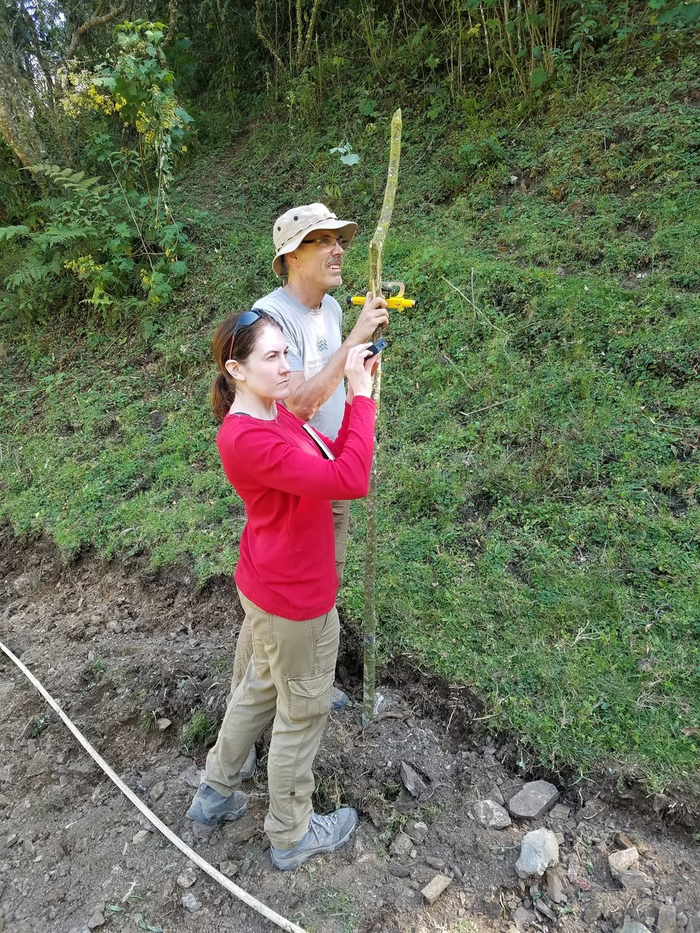 Tiffany and Jeff surveying with the Abney level.