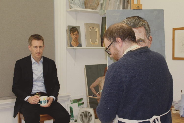 Richard Kitson painting Sheffield City Region Mayor and Barnsley Central MP Dan Jarvis MBE. -