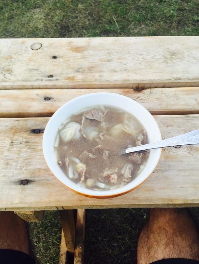Sopa de carne de cabra!