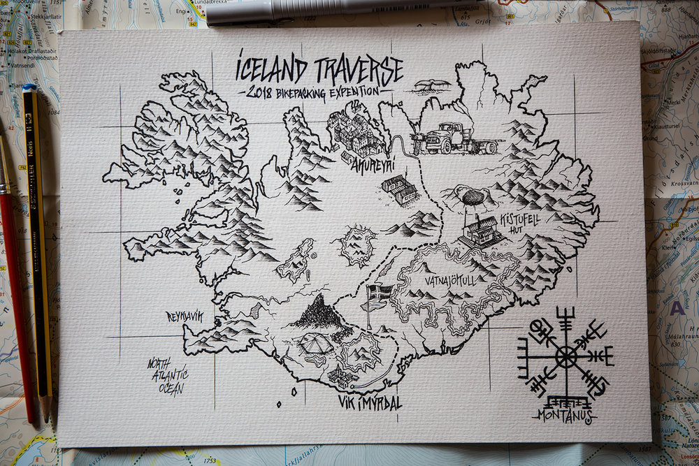 iceland traverse map by montanus