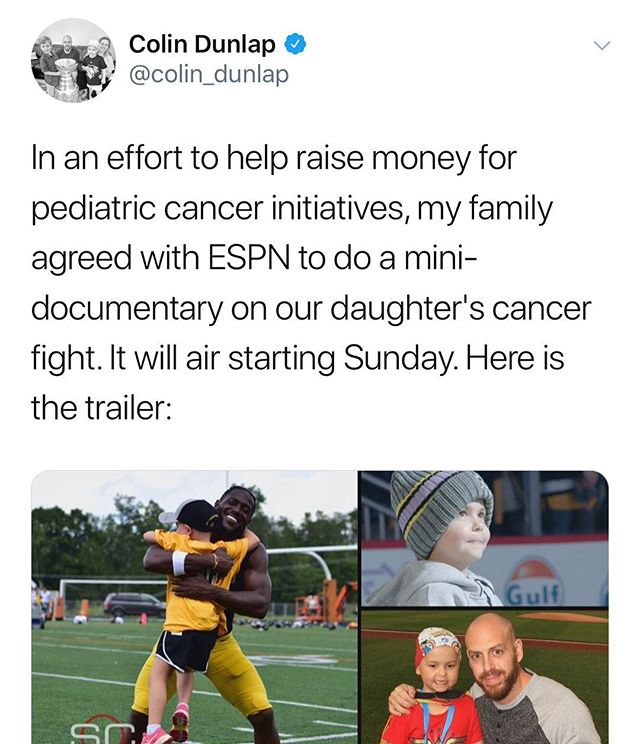 "Colin Dunlap on Twitter: ""In an effort to help raise money for pediatric cancer initiatives, my family agreed with ESPN to do a mini-documentary on our daughter's cancer fight. It will air Sunday!"" Mary Kenealy Events is gearing up for 13th Dick Vitale Gala to benefit the V Foundation to raise funds for pediatric cancer research May 11! Link in bio for the trailer. #DVG2018 #DickVitaleGale #ESPN #MaryKenealyEvents @dickiev_espn"