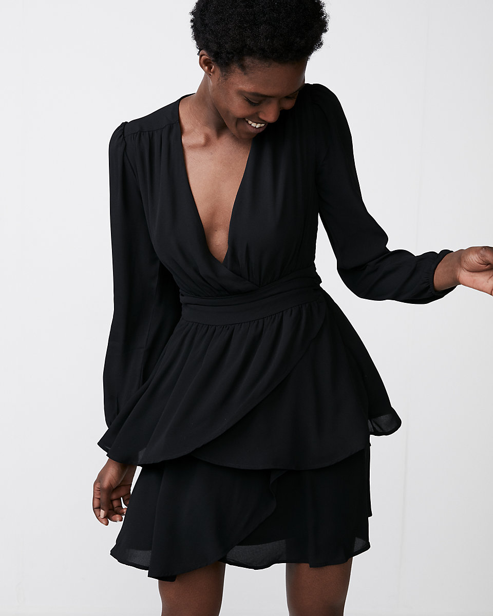 Express Plunging Tiered Fit and Flare Dress