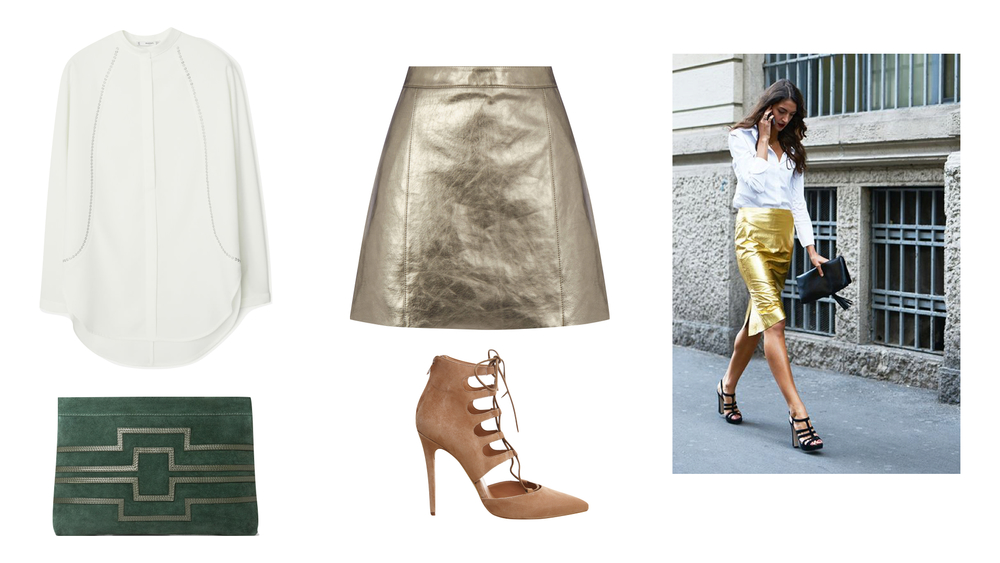 c4a99ec55a Warehouse metallic leather skirt / Mango studded shirt / Office pasha lace  up courts / Mango trimmed suede clutch