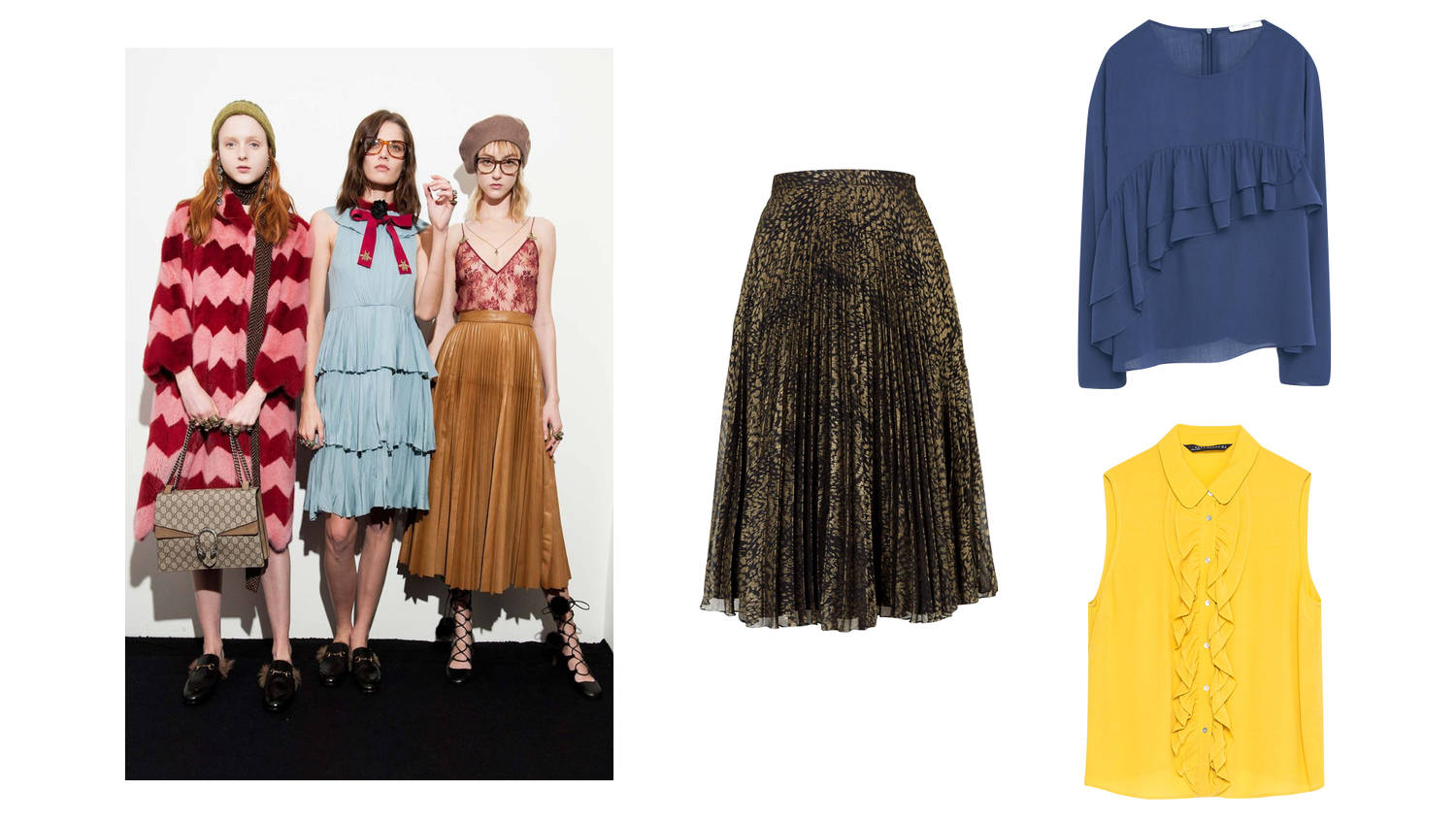 70c2a0bfc5a7 Topshop animal print pleated midi skirt was £60 now £15   Mango decorative  ruffle blouse was £39.99 now £19.99   Zara frilly blouse was £29.99 now  £9.99