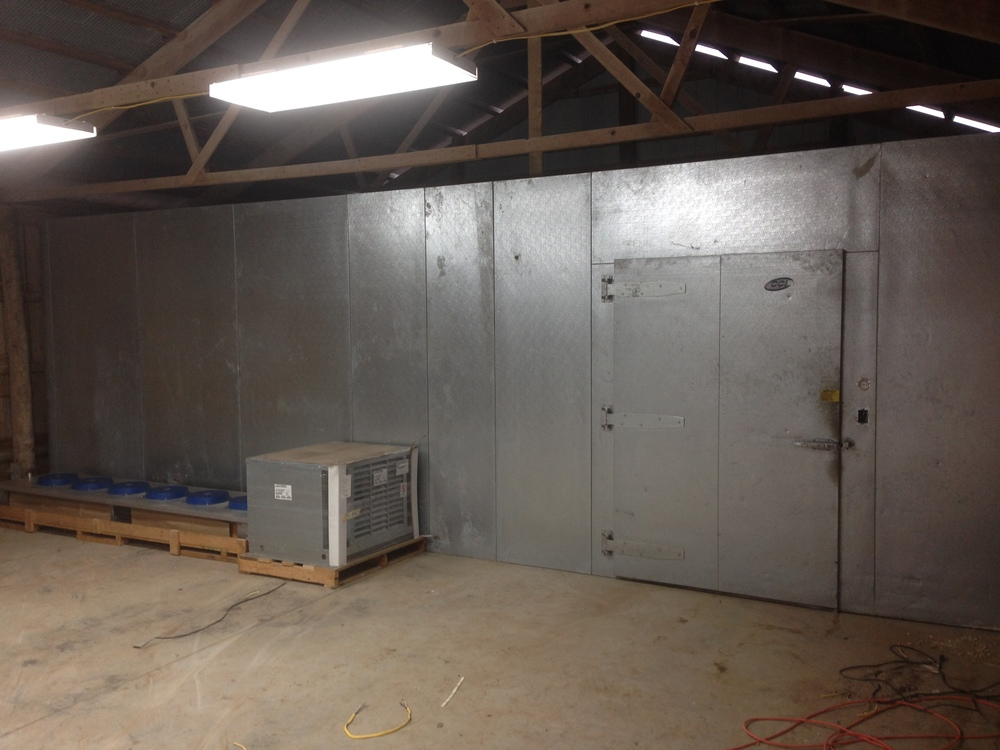 Cooler is built and refrigeration equipment ready to be installed (by a professional).
