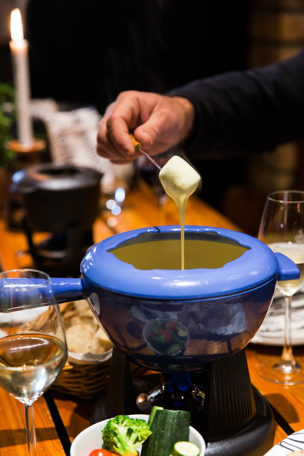 Cheese fondue at delheim