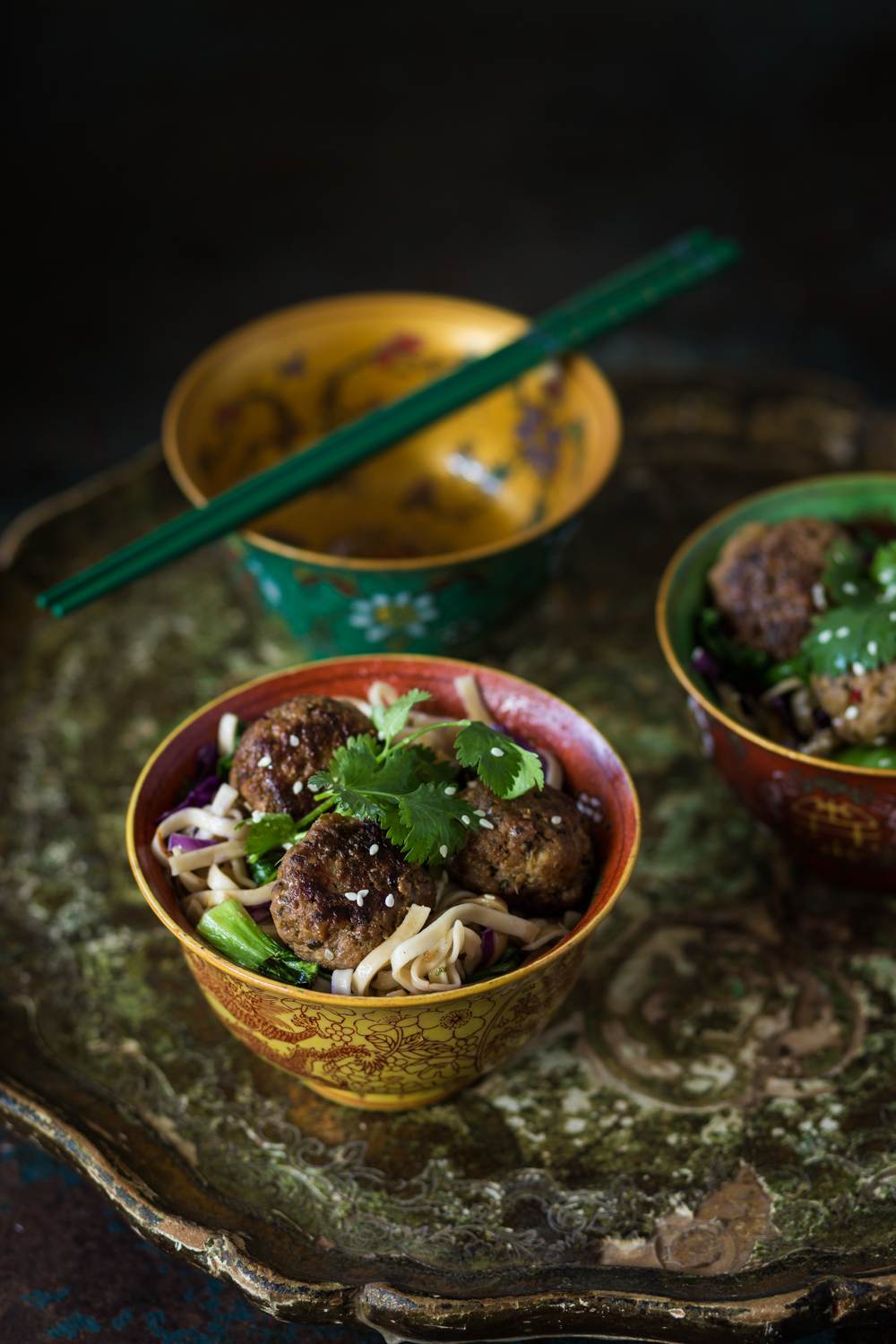 thai meatballs with noodles
