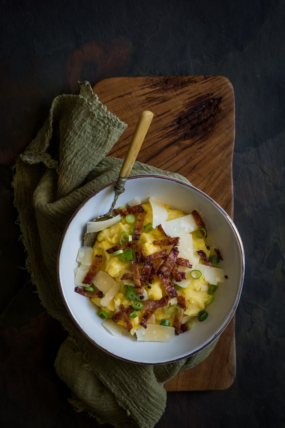 Sweet corn polenta with crispy bacon