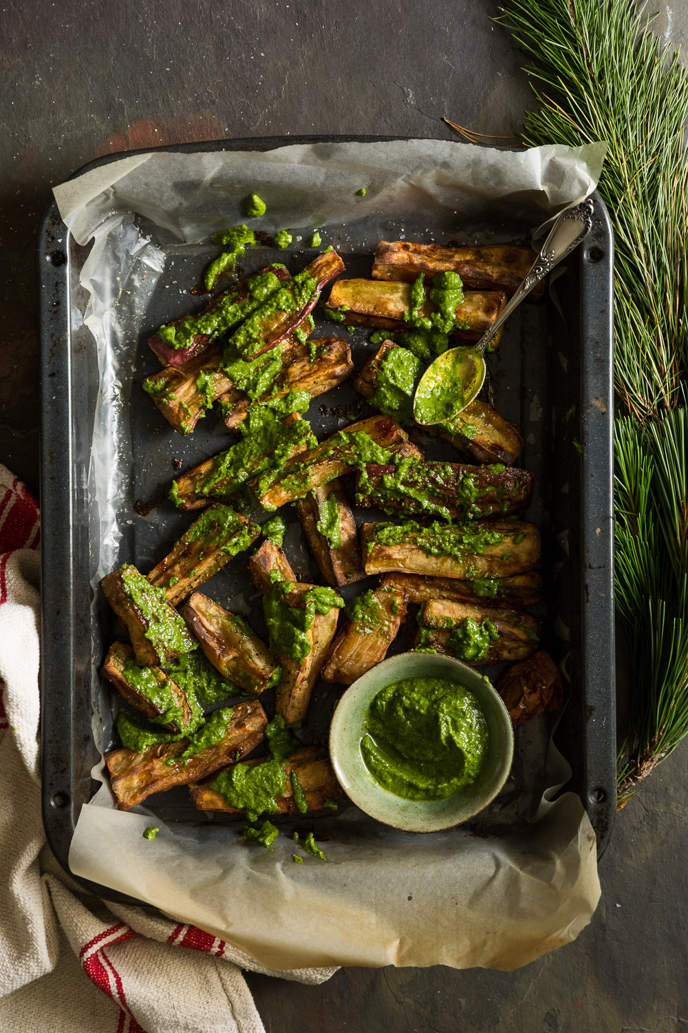 Roasted sweet potato with walnut and parsley pesto