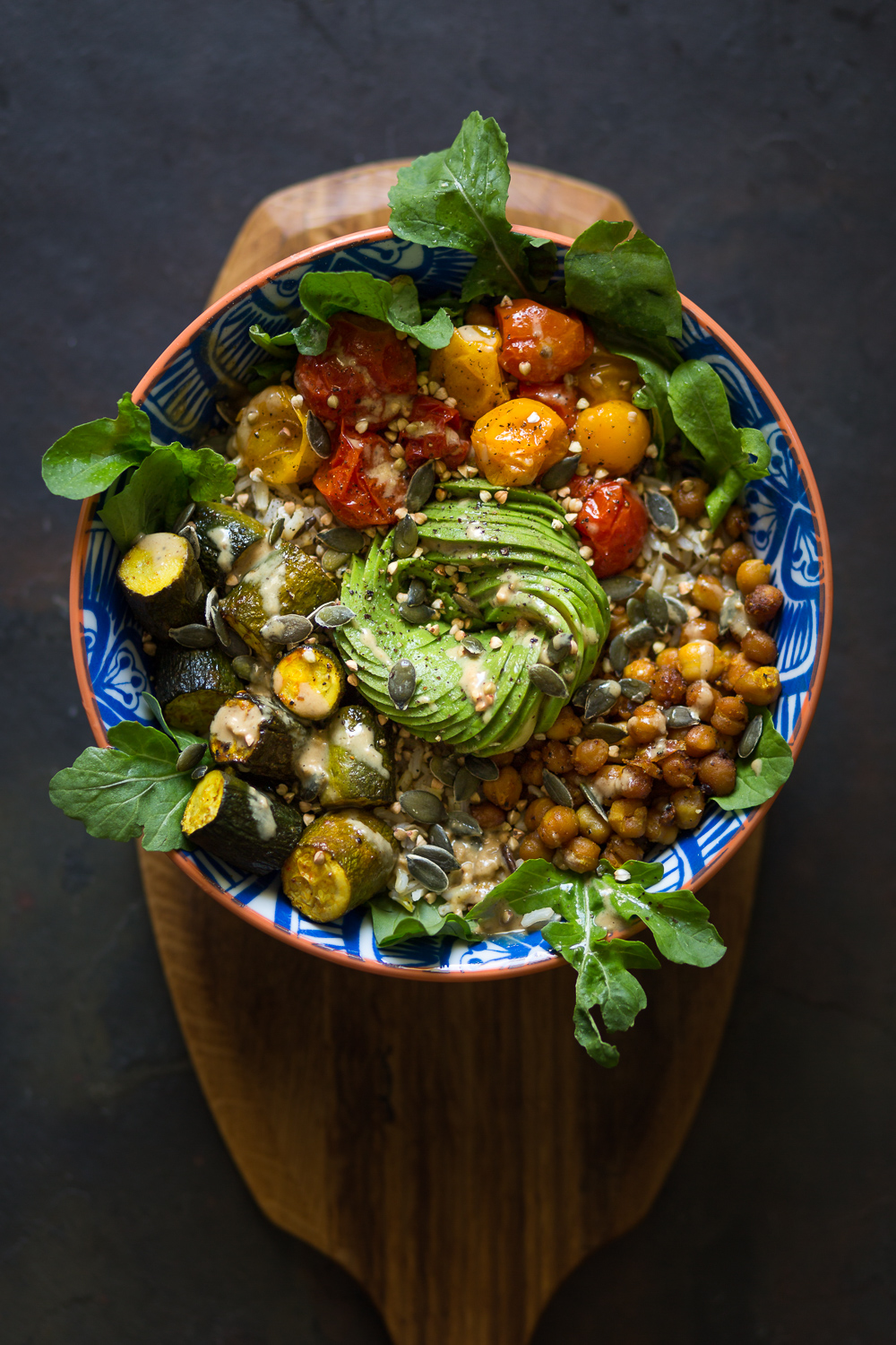 Roasted tomato and chickpea bowl