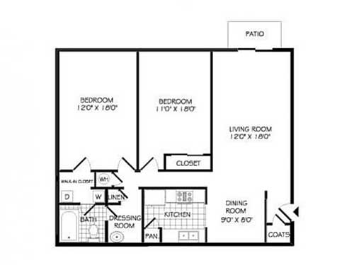Floor plans arbor walk apartments for Walk in closet square footage