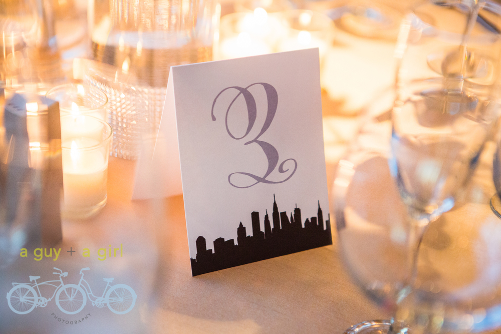 New York Skyline, Table Cards, Table Numbers, Gold and Black