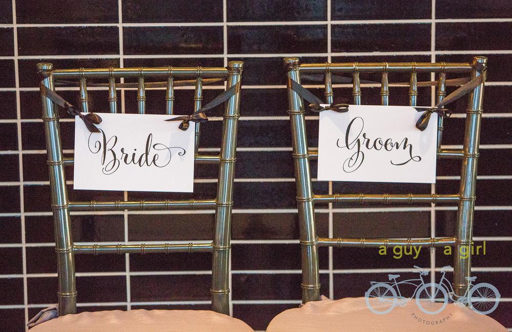 Bride, Groom, Chair Signs, Modern