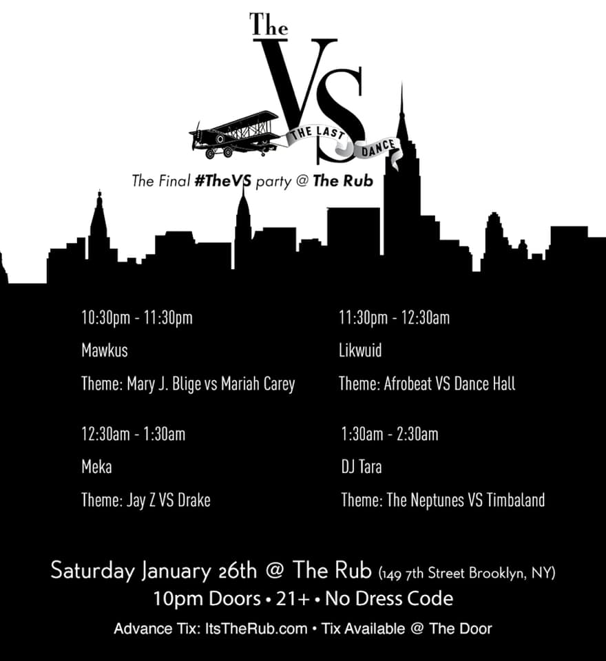 Since 2013    #TheVS    has been like a love letter to the things I cherish about this city. We bridged divides, promoted togetherness & celebrated NYC. • All good things come to an end, so join me January 26th as we host a final #TheVS with a great lineup & my fam, The Rub. • Thank you to everyone who has supported or been a part of #TheVS over the years, it's been a pleasure & an honor to make a contribution to the culture of this great city.