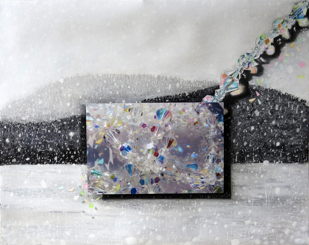 Snowfall of the Gems  28 x 34, pastel on paper, photograph, beads SOLD