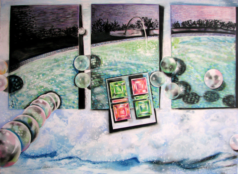 Night Pool with Luster  38 x 44 , pastel on paper