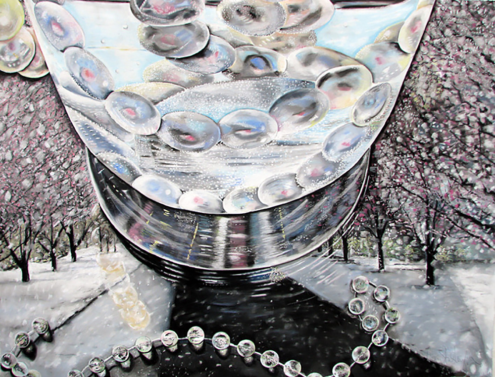 "Effervescence of the Spring Snow  39"" x 50"", pastel on paper 2009"
