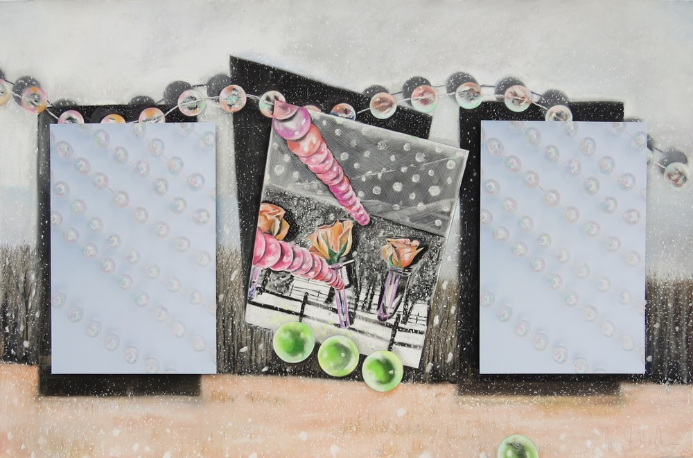 "Field of Flurrying Sparkle  33"" x 50"", pastel on paper, photographs 2015"