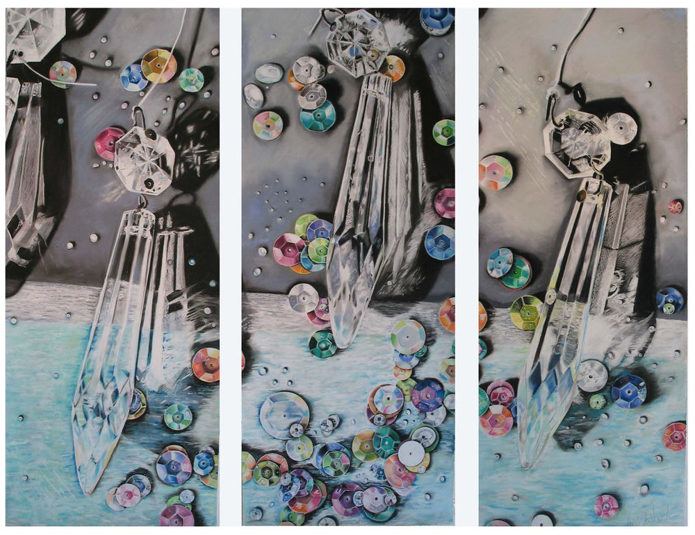 """Sequence of the Sequins   3 panels (framed separately), 51"""" x21"""", pastel on paper"""