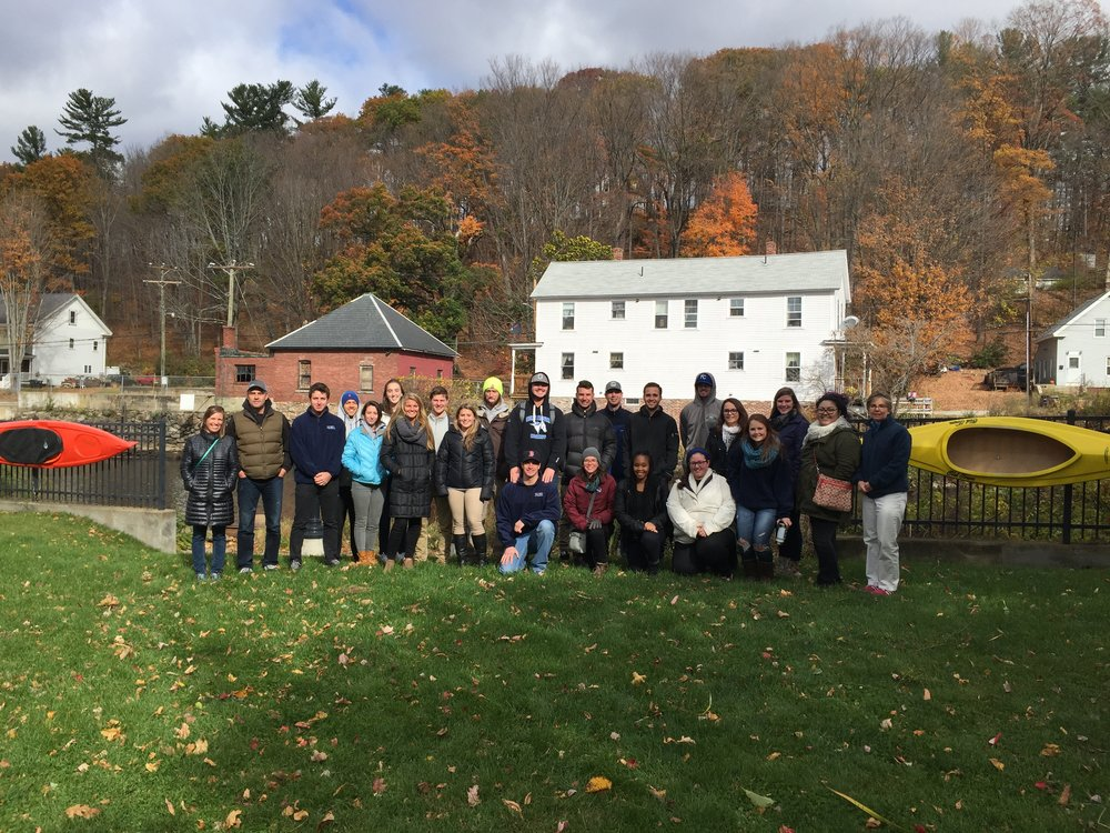 In Fall 2016 Colby-Sawyer Students in Professor Hilary Walrod's Identity System Design class and Professor Stacey Watts' Senior Seminar in Sport Management class visited Franklin, NH to meet with their community project partners.  Photo by Jenisha Shrestha.